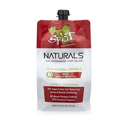 Splat Naturals, Semi-Permanent Red Hair Dye : 100% Vegan, Cruelty-Free, No Bleach Required, Free of Ammonia, PPD, Parabens & Sulfates - 6 Oz