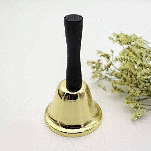 Flower205 Campana de mano de metal para te de 65 mm, divertida campana de mano de juguete chapada en oro, alta llamada, mesa de comedor, campana de altura 117 mm