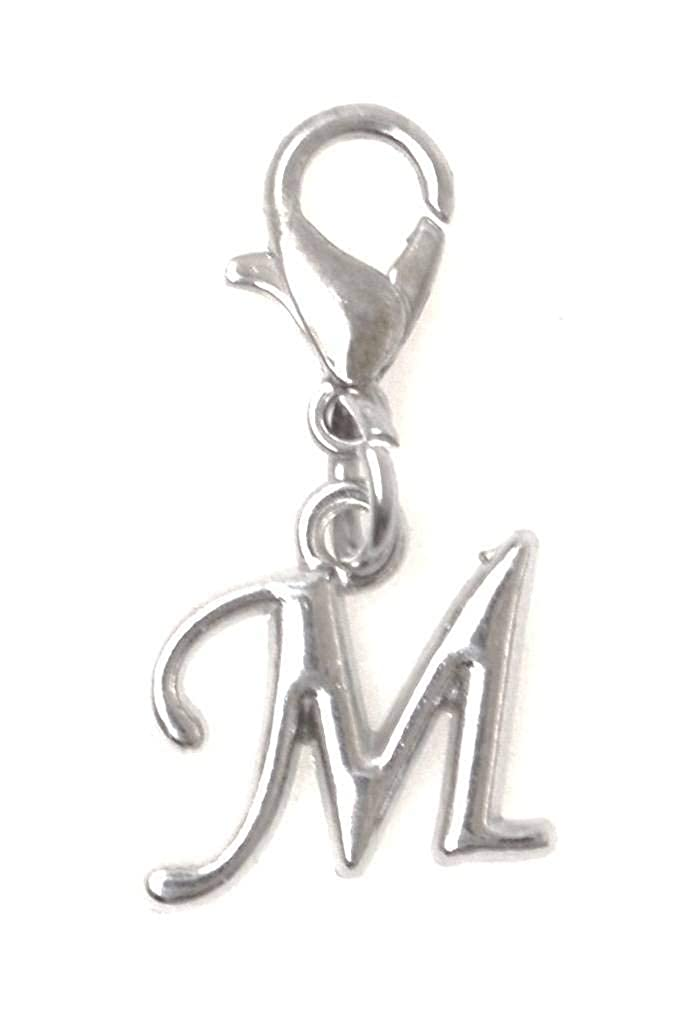 It's All About...You! Letter, 26 Letter Options A-Z, Initial Stainless Steel Clasp Clip on Charm AAYJ-SSCL-BK1