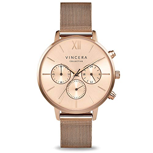 Vincero Luxury Woman's Kleio Wrist Watch — Rose Gold + Rose Gold dial with a Rose Gold Mesh Watch Band — 38mm Chronograph Watch — Japanese Quartz Movement