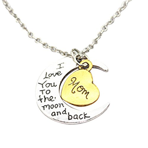 Alixyz Family portrait necklace, I Love You To The Moon And Back Engraved Silver Moon Pendant Necklace (Multicolor, B (Heart Pendant Necklace Portrait)