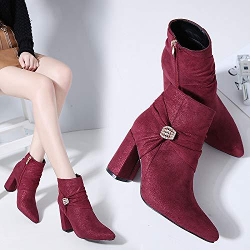 LBTSQ-Mode Damenschuhe 2018 Sexy Wildleder Metall Bohrer Schnallen Bogen 8.5Cm Grob Ferse Sagte Schuhe