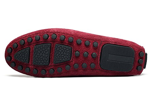 Tda Hombres Fashion Comfort Manual Slip On Slip Leather Driving Business Mocasines Zapatos De Barco Vino Tinto