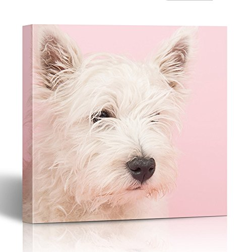 """Price comparison product image Emvency Painting Canvas Print Wooden Frame 12"""" x 12"""" Inches Pink Dog West Highland White Terrier Westie Westy Animal Baby Collar Cute Dog Wall Art For Home"""