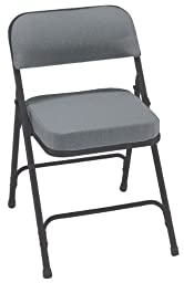 National Public Seating 3200 Series Steel Frame Upholstered Premium Fabric Seat and Back Folding Chair with Double Brace, 300 lbs Capacity, Charcoal Gray/Black (Carton of 2)