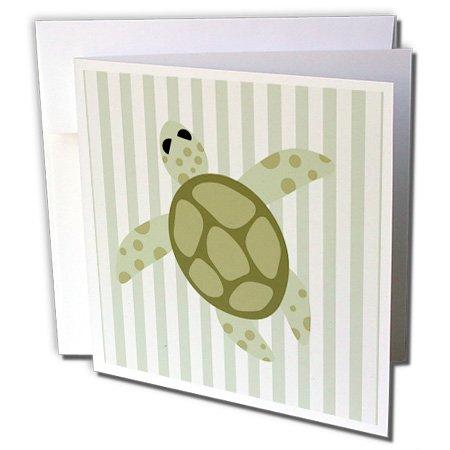 3dRose Cute Sea Turtle Design Green Stripe - Greeting Cards, 6 x 6 inches, set of 6 (gc_31279_1) Green Stripe Note