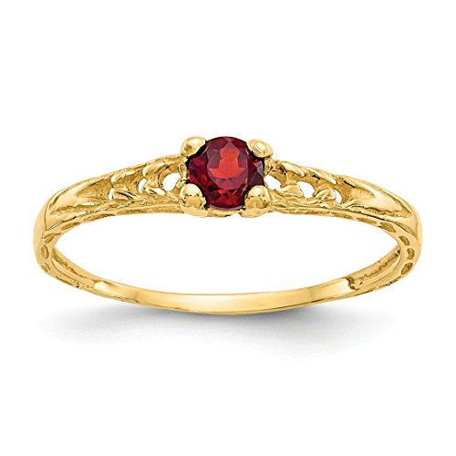 ICE CARATS 14kt Yellow Gold 3mm Red Garnet Birthstone Baby Band Ring Size 3.00 January Fine Jewelry Ideal Gifts For Women Gift Set From (Babys 14kt Gold Birthstone Ring)