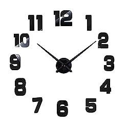 Very Very Large Size Mirror Surface Wall Clocks 3D DIY Creation Wall Decor Sticker Clock (Black)