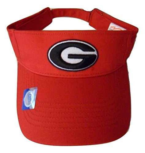 Georgia Bulldogs Adjustable Logo Visor, Choose Your Team Color (Red)