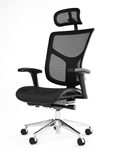 OFFICE FACTOR Ergonomic Adjustable Office Chair, Executive High Back Chair with Headrest, Seat Slider Swivel Chair, Black Mesh with Aluminum Base