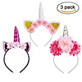 Naisidier 3Pcs Unicorn Horn Headbands with Ears And Flowers for Kids Adults Party Headdress