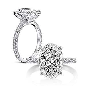 AINUOSHI 925 Sterling Silver Women Wedding Rings 5 Carat Oval Cut Cubic Zirconia Engagement Ring