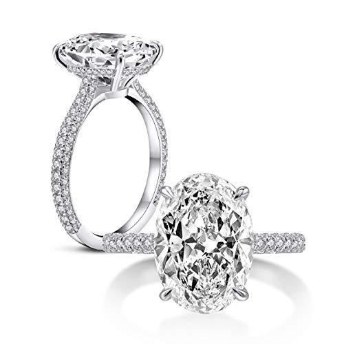 AINUOSHI 925 anillos de boda de plata esterlina para mujer Anillo de compromiso de circonio cúbico de 5 quilates con corte ovalado