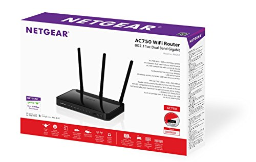 NETGEAR AC750 Dual Band Wi-Fi Gigabit Router (R6050) 5 AC750 Wi-Fi Simultaneous Dual band reduces interference External antenna for better range and throughput