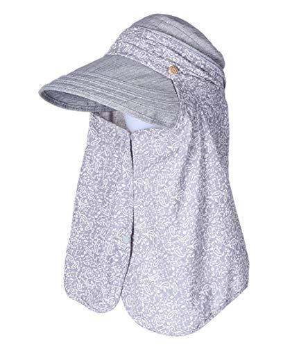 (Womens Sun Hat UV Protection Gardening Hiking Shade Safari Summer Hats Neck Flap SPF 50 Packable Visor Wide Brim Ladies Light Gray)