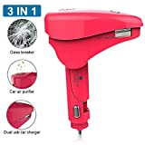 Car Air Freshener, 3 in 1 Car Emergency Escape Tool with Safety Hammer Window Breaker 2 USB 12v Car Charger Air Lonizer Purifier Removes Odors Allergens Smoke (Pink)