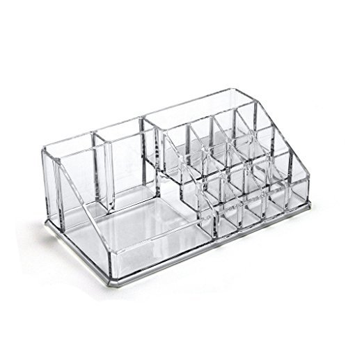 Green fox Acrylic Cosmetic Storage Makeup Organizer Display Boxes, 16 Compartments, Clear