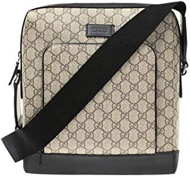 07b1b0d77fe2 Amazon.com  Gucci Flight Signature Supreme Crossbody Black dark brown Handbag  Bag New  Shoes