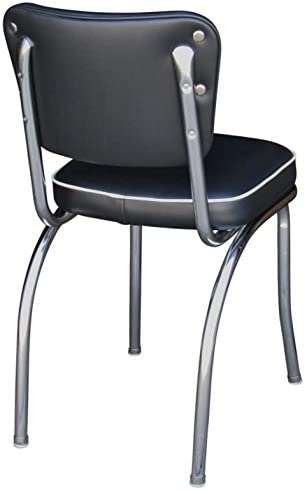 Richardson Seating Retro Chrome Kitchen Chair with 2 Box Seat, Black