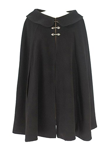 Black Wool Short Cape for Women (Lg - Xlg) by Carpatina - Renaissance Fashions