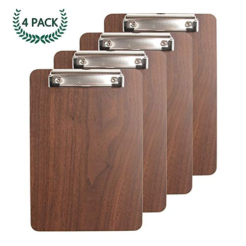 (Bearda Standard A4 Clipboard - Premium Sturdy Fiberboard with Wood Grain Surface, Low Profile Durable Legal Letter Size with Hanging Hook, File Clip, Best for Office Classroom Business (4 Pack))