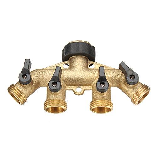 Annibus 3/4 Inch 4 Way Brass Hose Faucet Manifold Water Segregator Garden Tap Connector Splitter Switcher Control Shut Off Valve