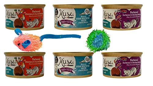 Muse by Purina Grain Free Natural Recipe Cat Food 3 Flavor 6 Can with 2 Toys Sampler Bundle, 2 Each: Chicken Carrot…