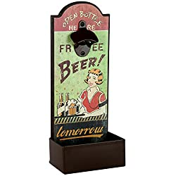 Lily's Home Vintage Humorous Beer Bottle Opener With Cap Catcher, Beautiful and Functional Design Makes This Ideal for Any Beer Lover, ()