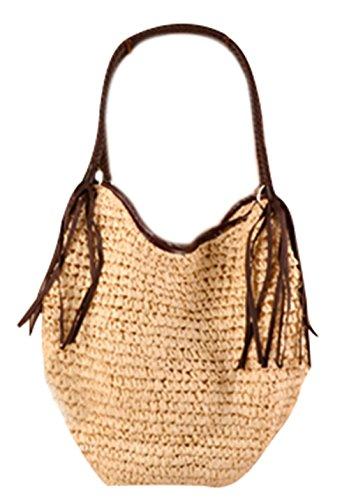Bronze Times (TM) Womens Stylish Eco Straw Knitting Fringed Large Hobo Handbag (Beige)
