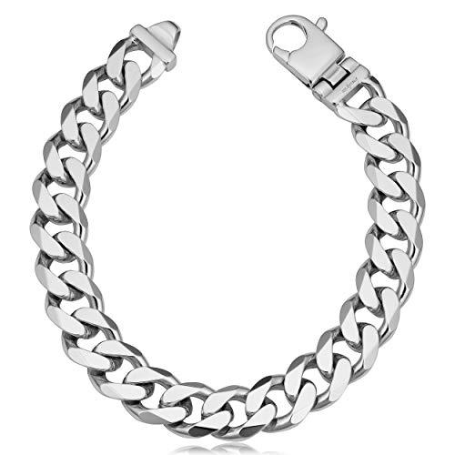 - Kooljewelry Solid Sterling Silver 11.9 mm Curb Link Bracelet for Men (8.5 inch)
