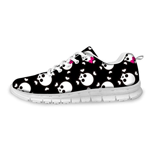 Cool Black Weight Breathable Lace Light Fashion Skull FOR Women's Comfortable Shoes Pink U up Print Sneakers 2 DESIGNS Running xBqW1wAEa