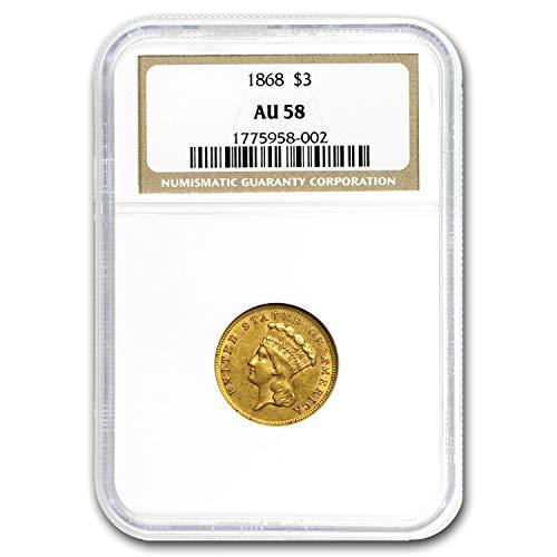 1868 $3 Gold Princess AU-58 NGC $3 AU-58 NGC