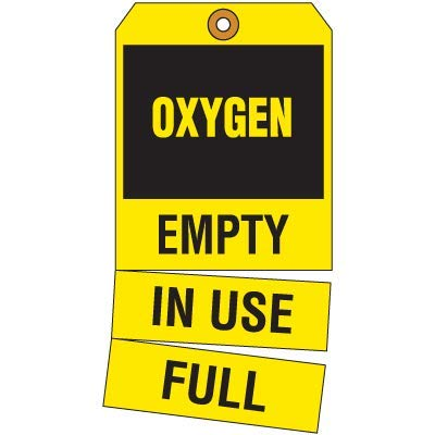 Emedco 3-Part Oxygen Cylinder Status Tags, Yellow/Black
