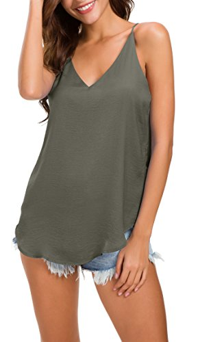 Evera B Women's V Neck Spaghetti Strap Satin Cami Top (Army, ()