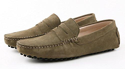 Tda Heren Streep Multi Kleur Hot Suede Mocassin Loafers Bootschoenen Kaki