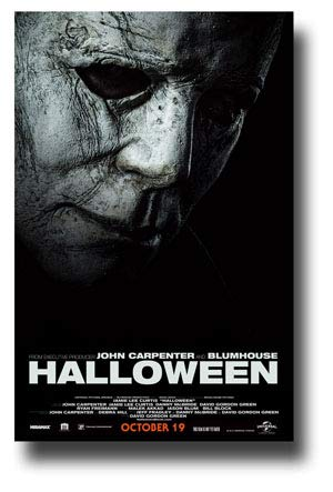 Halloween Poster Movie Promo 11 x 17 inches Mask Dark Black and White BWWT -