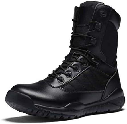 軍事戦術軽量オックスフォード布は暖かいハイヘルプレースアップスタイルの登山靴滑り止め耐摩耗ラバーソールをキープ (色 : 黒, サイズ : 24.5 CM)