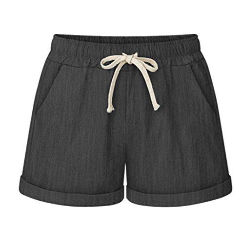 (Vcansion Drawstring Elastic Waist Casual Comfy Cotton Linen Beach Shorts for Women Denim Black US 16W/Asian 6XL)