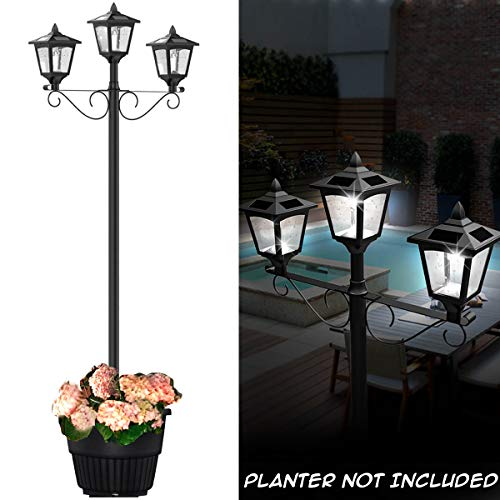 Solar Powered Light Post With Planter