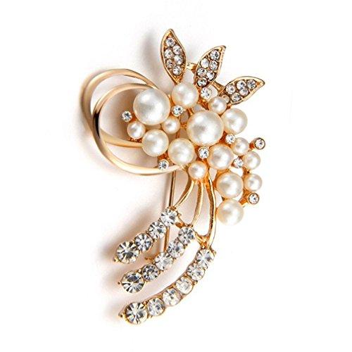 YHDBH Fashion Jewelry Vintage Gold Brooch Pins Austria Crystals Imitation Pearl Flower Brooch Wedding Accessories (Sunflower Crystal Brooch)