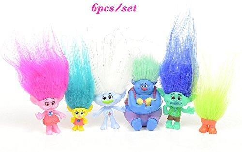 Max Fun 6Pcs/Set 4-7cm DreamWorks Figure toys, Collectible Dolls, Poppy, Branch, Guy Diamond, Biggie, Smidge, Fuzzbert, PVC Trolls Action Figures Doll Toy Trolls