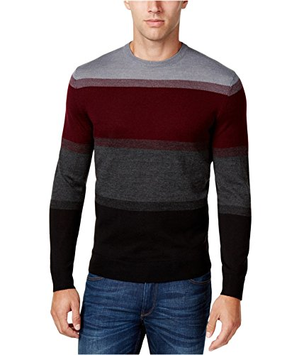 - Club Room Mens Merino Wool Colorblock Crewneck Sweater Black XL