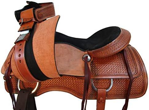 41NJMorAaqL. AC  - Comfy Trail Saddle Pleasure Horse TACK Hand Tooled Leather Roping Roper 15 16 17