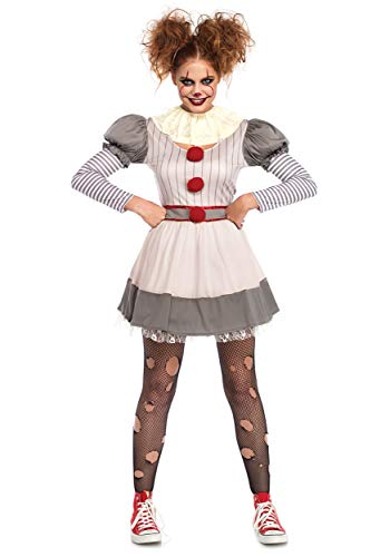 Leg Avenue Womens Scary Clown Costume, Multi, Medium/Large