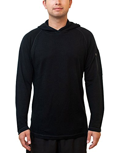 - Woolx Men's Switchback Midweight Merino Wool Hooded Sweatshirt , Black, Medium
