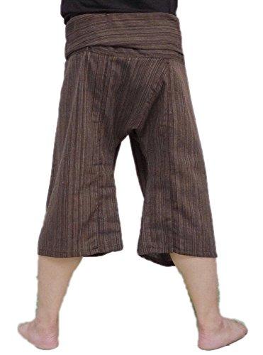 Thai Fisherman Pants Yoga Trousers Free Size 3/4 Cotton Stripe-Brown