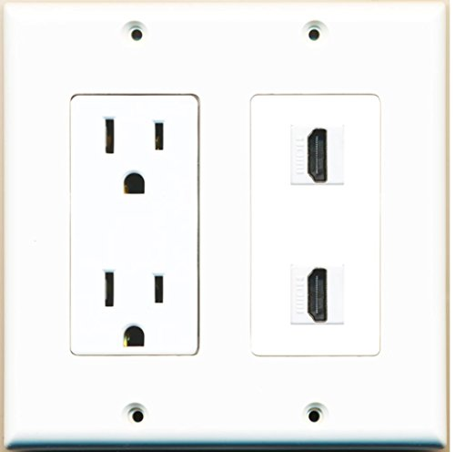 RiteAV - 15 Amp Power Outlet 2 Port HDMI Decora Type Wall Plate - - Wall Outlet Hdmi