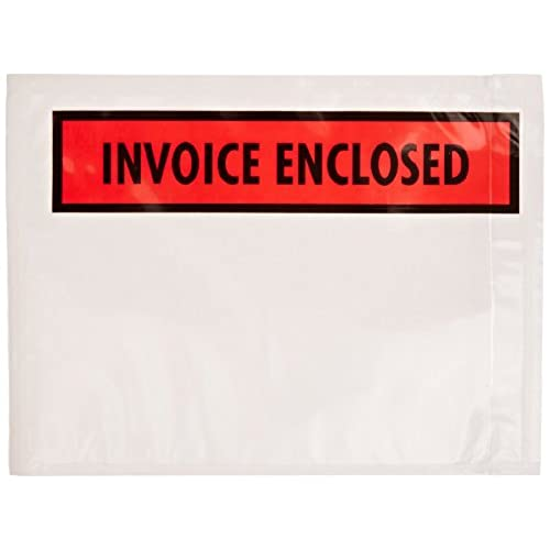 """Nice Aviditi PL463 Poly Full Face Document Envelope, Legend """"INVOICE ENCLOSED"""", 4-1/2"""" Length x 6"""" Width, 2 mil Thick, Red/Black on White (Case of 1000)"""