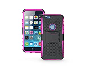 """Hybrid Rugged Stand Case For iPhone 6 4.7"""" Polycarbonate Impact Resistant 2-In-1 Armor Case With TPU Silicone For Cushion Grip Kickstand (pink)"""