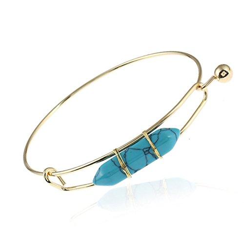 Bali Silver Bracelet Watch (Healing Gemstone Crystal Hexagonal Pointed Reiki Pendant Necklace Bangle Bracelet for Women (Turquoise bangle bracelet))